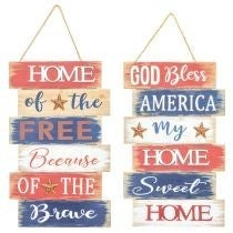 BLESS AMERICA HOME OF THE BRAVE HANGER