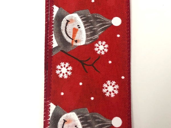 "Red Linen/Cutest Snowman 2.5""x10yd"