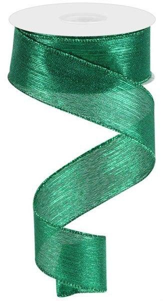 "1.5""X10yd Vertical Metallic Stripe Emerald Green"