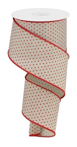 "2.5""X10YD SWISS DOTS ON BURLAP Color: Lt Natural/Red"
