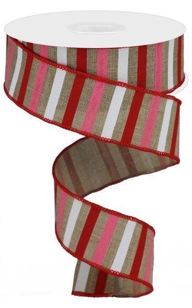 "1.5""X10yd Horizontal Stripe On Royal Color: Lt Beige/Red/Pink/White"