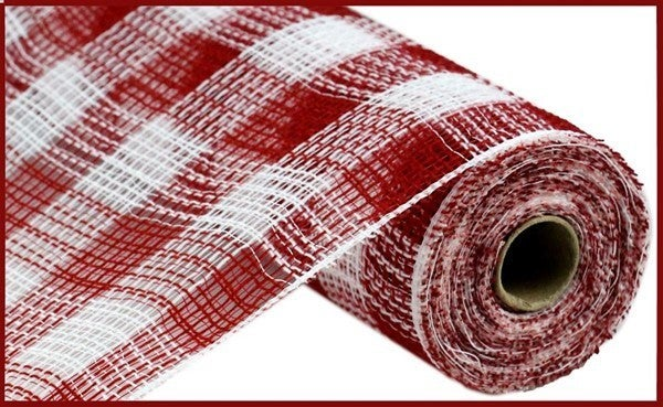 "10.5""X10yd Faux Jute/Pp Small Check Red/WH"