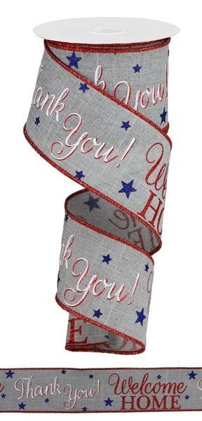 "2.5""X10yd Patriotic Welcome Home Lt Grey/White/Red/Blue"