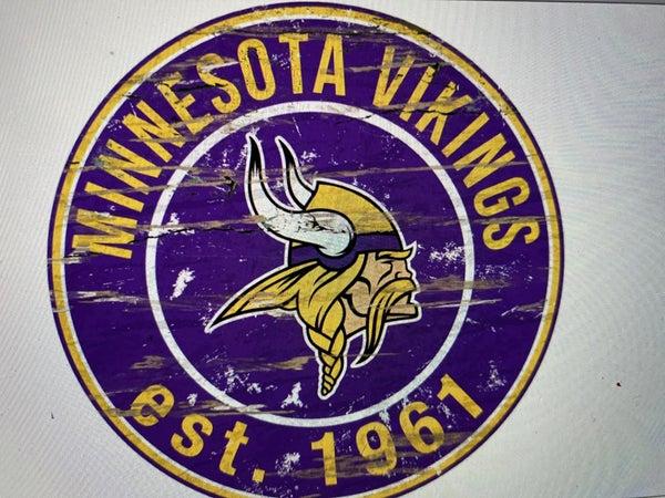 "12"" Destressed Wooden NFL Circle Sign - Minnesota Vikings"