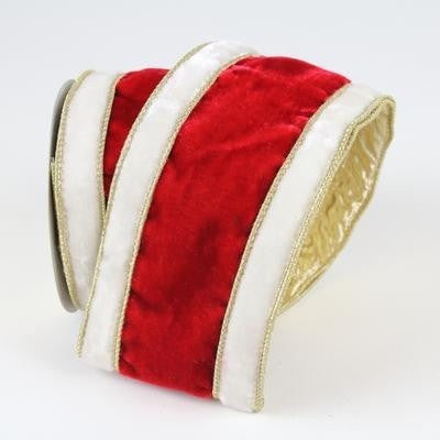 "SANTA RIBBON (PREORDER) - 4"" X 10YD / RED WHITE GOLD"