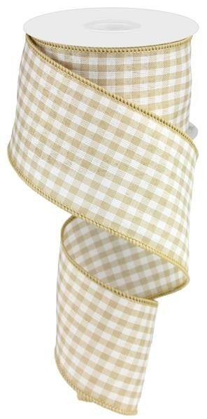 "2.5""X10YD GINGHAM CHECK TAN/CREAM"