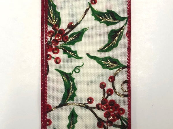 "Cream Linen/Holly Glitter Branches 2.5""x10yd"