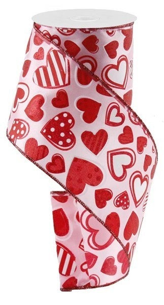 """4""""X10yd Patterned Hearts Color: Lt Pink/White/Red"""