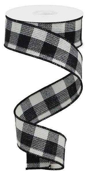 "1.5""X10yd Woven Flannel Check Black/White"