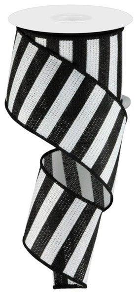 "2.5""X10YD HORIZONTAL STRIPE Color: White/Black"