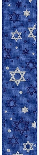 "2.5""X10yd Glitter Star Of David On Royal Royal Blue/Silver"
