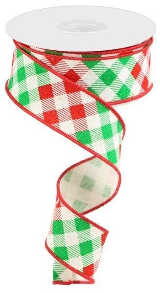 "1.5""X10yd Diagonal Check/Cotton Color: Cream/Red/Emerald"