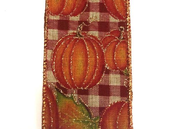 "Burgundy-Natural Chex/Pumpkins 2.5""x10yd"