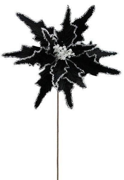 """22""""L Velvet/Glitter Poinsettia Stem Black/white"""