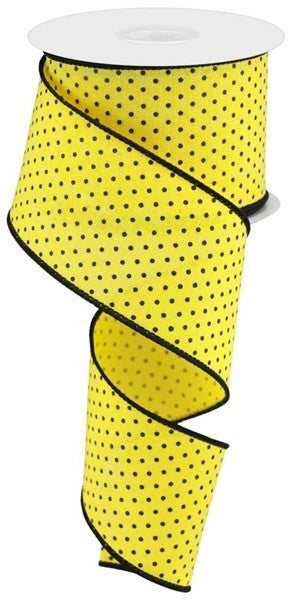 "2.5""X10YD RAISED SWISS DOTS ON ROYAL Color: Sun Yellow/Black"