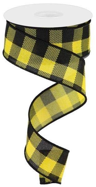 "1.5""X10yd Striped Check On Royal yellow/black"