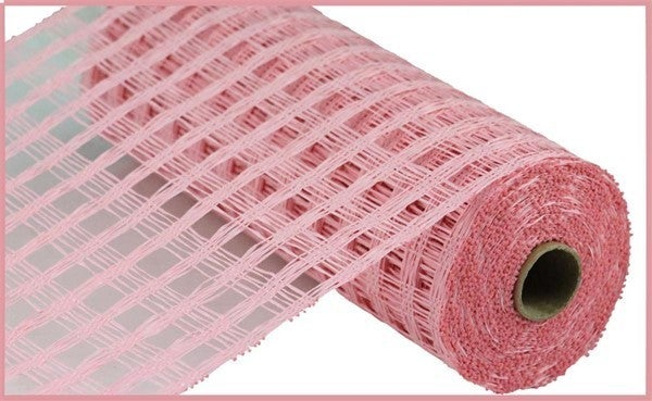 "10""X10YD POLY BURLAP CHECK MESH Color: Light Pink"
