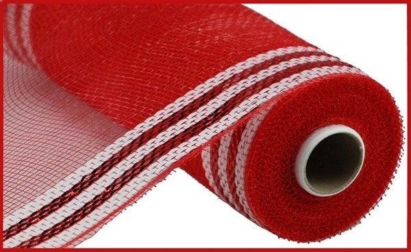 "10.25""X10yd Border Stripe Metallic Mesh Red/White"