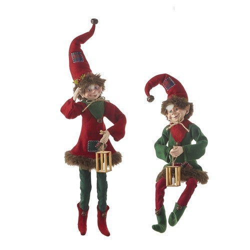 """To Grandmothers House We Go 24"""" PATCHWORK POSABLE ELF"""
