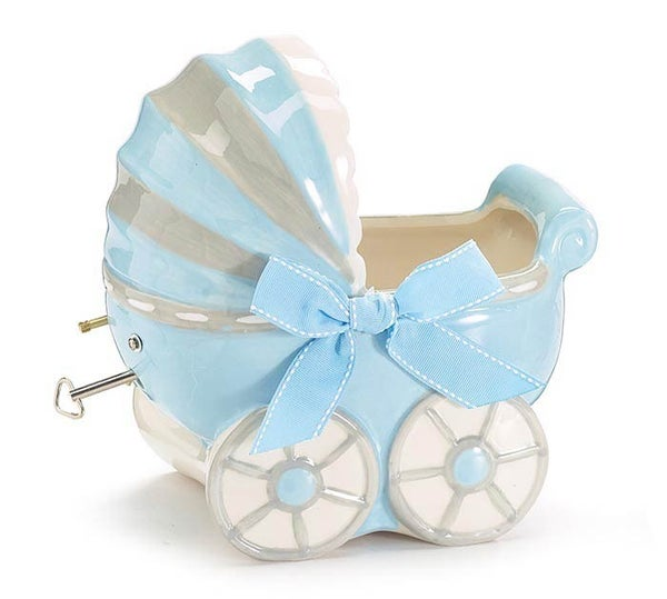 BOY CARRIAGE MUSICAL CERAMIC PLANTER