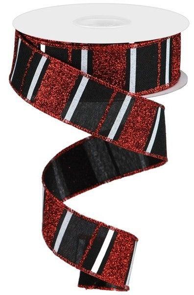 "1.5""X10yd Glitter Stripes On Royal Color: Black/Red/White"