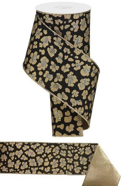 """4""""X10yd Leopard Print/Royal Color: Black/Gold/Lt Gold"""