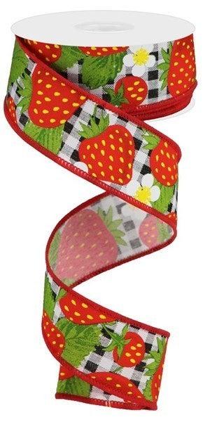 "1.5""X10yd Strawberries On Check Black/White"