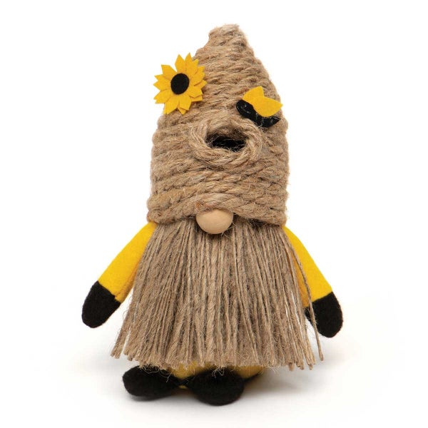 "HUMBLE BEE GNOME WITH BEE SKEP HAT, WOOD NOSE, JUTE BEARD AND FE 4.5""x3.5""x7"""