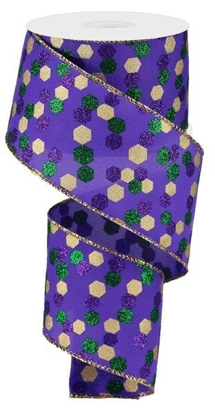 "2.5""X10yd Glitter Hexagon Dot Mardi Gras"