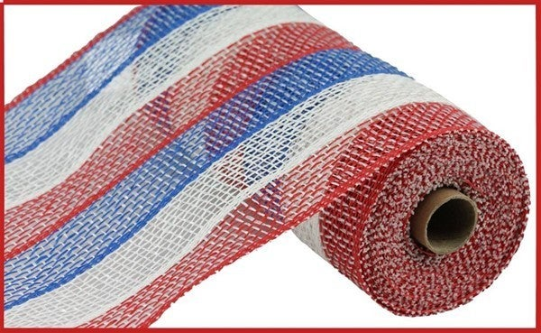 "10""X10YD POLY BURLAP STRIPE MESH Red/White/Blue"