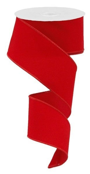 "2.5""X10yd Indoor Velvet Ribbon Red"