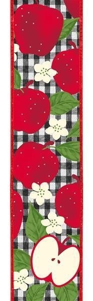 """4""""X10yd Apples On Check Red/Bl/Wh"""