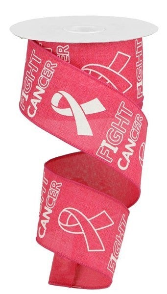 """2.5""""X10yd Fight Cancer On Royal Hot Pink"""
