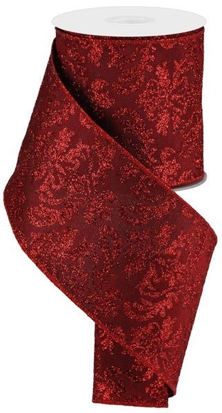 "4""X10yd Bold Damask/Faux Dupioni Cranberry/Red"