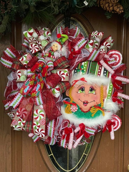 Elf Girl Christmas Wreath