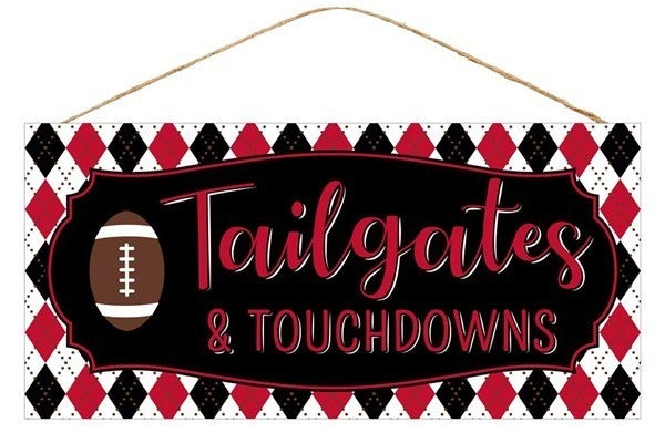 """12.5""""L X 6""""H Tailgates/Touchdowns Sign Black/Red"""