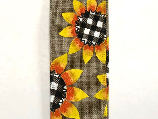 "Natural Linen/Sunflower-BW Plaid Center 1.5""x10yd"