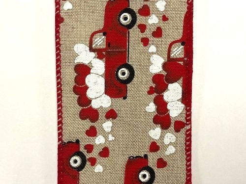 "NAT LINEN/TRUCKS N HEARTS, 2.5""X10Y"
