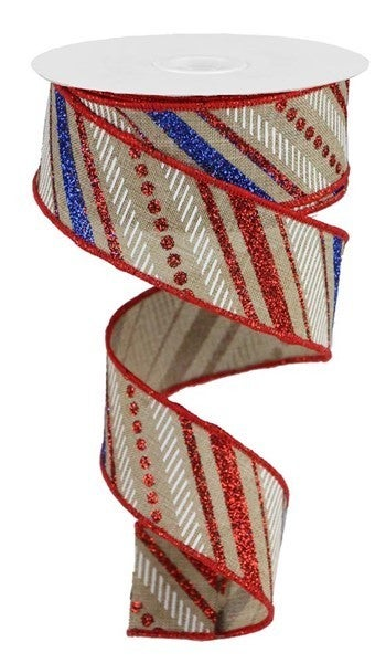 "1.5""X10yd Multi Diagonal Stripes/Royal Lt. Beige/red/blue/white"