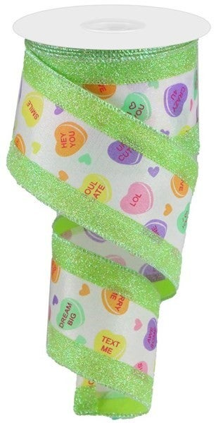 """2.5""""X10yd 3-In-1 Conversation Heart Color: White/Multi/Lime"""