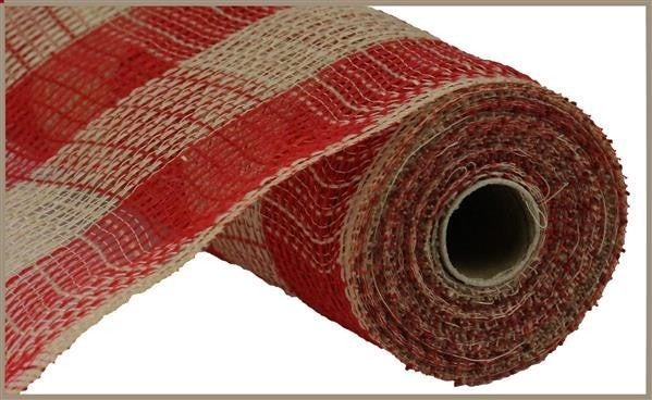 """10.5""""X10yd Faux Jute/Pp Large Check Red/Natural"""