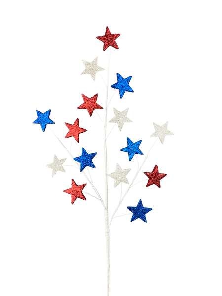 Glitter Star Spray X 15 H28 Red/White/Blue