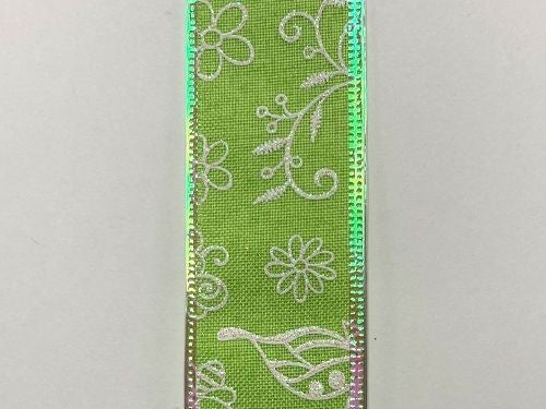 "LIME LINEN/WHT-IRID FLWRS-BEES, 1.5""X10Y"