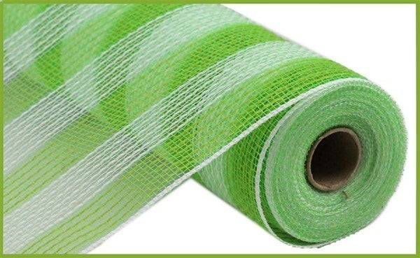 "10.5""X10YD FAUX JUTE/PP SMALL STRIPE Color: Fresh Green/White"