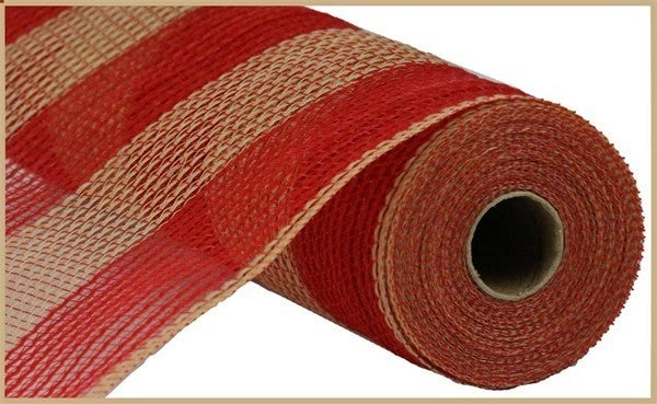 "10.5""X10yd Faux Jute/Pp Wide Stripe Red/Natural"