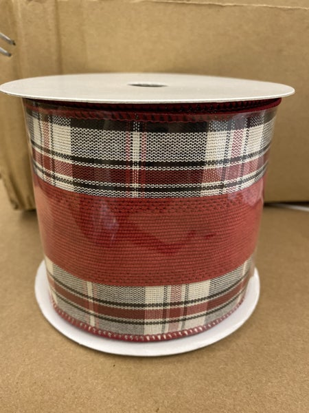 "4""x10yd Check Edge Stripe Wired Ribbon"