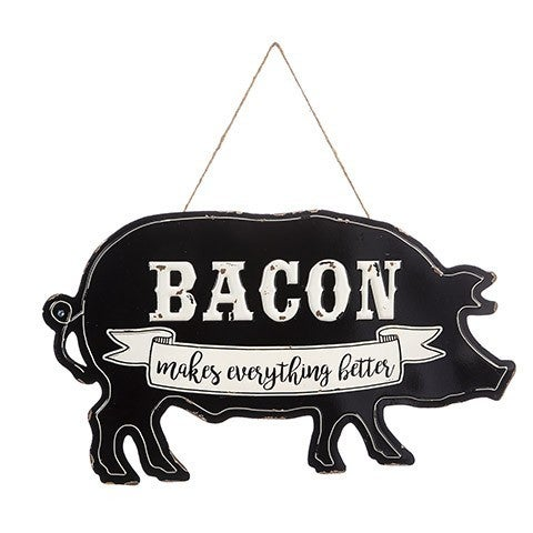 Bacon Makes Everything Better Pig-Shaped Wall Sign, 24 X 13 Inches