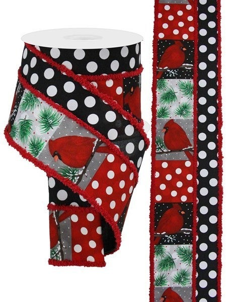 """4""""X10YD 2-IN-1 CARDINAL/POLKA DOT/DRIFT Color: Red/Black/White/Green"""