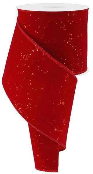"""4""""X10yd Glitter Velvet Red"""
