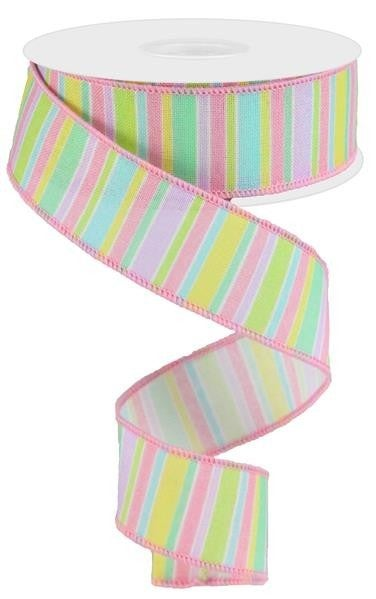 "1.5""X10yd Horizontal Stripe On Royal  Pastel Multi"